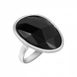 Серебряное кольцо с черным ониксом 000088339