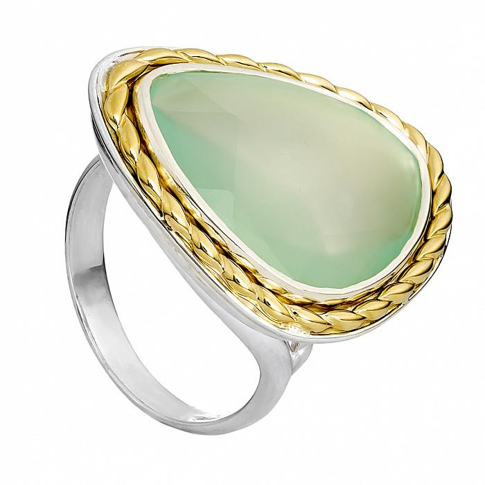 Серебряное кольцо с золотой вставкой и халцедоном Бригитта 000030082