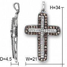Крестик из белого золота Верона с бриллиантами