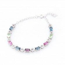 Серебряный браслет Радужная лента с разноцветными фианитами