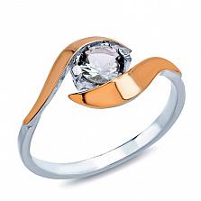 Серебряное кольцо с золотом и цирконием Вероника