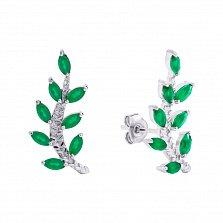 Серебряные серьги Веточки с зелёным агатом