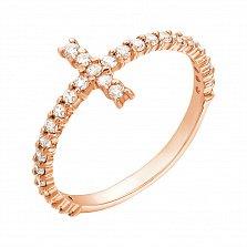 Золотое кольцо Крестовик с белыми фианитами