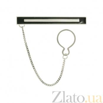 Серебряный зажим для галстука с эмалью Стиль 3Г570-0004
