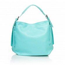 Кожаная сумка на каждый день Genuine Leather 8944 бирюзового цвета с боковыми карманчиками на молнии
