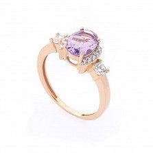 Золотое кольцо Августина в красном цвете с фиолетовым аметистом и белыми фианитами