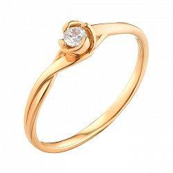 Золотое кольцо с фианитом 000071575