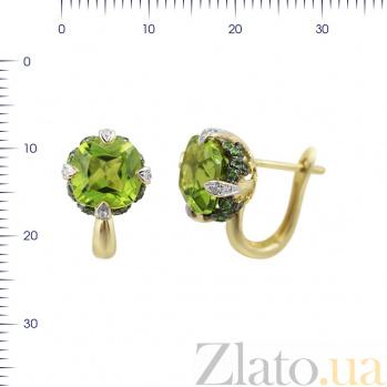 Серьги из желтого золота Ширли с бриллиантами, хризолитом и цаворитами 000081101
