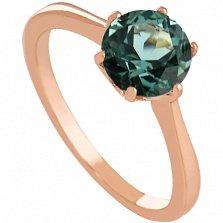 Золотое кольцо Брайди с синтезированным аметистом