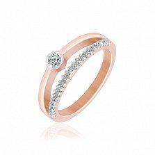 Серебряное кольцо Денни с позолотой и фианитами