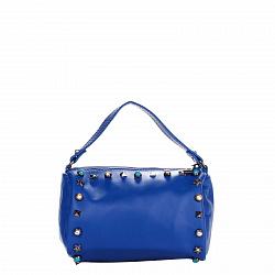 Кожаный клатч Genuine Leather 1519 синего цвета с короткой ручкой и декоративными элементами 0000927