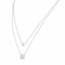 Серебряное колье Модные цветочки с фианитами в стиле Луи Виттон