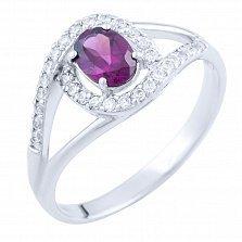 Серебряное кольцо Малика с розовым топазом и фианитами