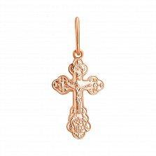 Крестик из красного золота Христианский