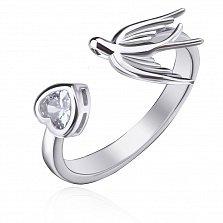 Серебряное кольцо Полет в небе с фианитом