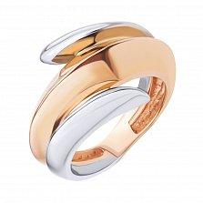 Золотое кольцо Мудрая змея в комбинированном цвете с фантазийной шинкой