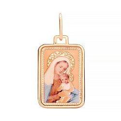 Золотая ладанка Божья Матерь в красном цвете с лазерной гравировкой