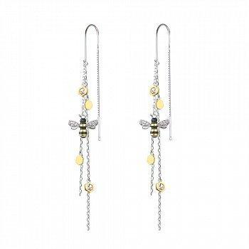 Серебряные серьги-протяжки Медоносные пчелки с позолотой, эмалью и фианитами 000113710