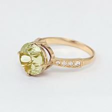 Золотое кольцо Эстель с синтезированным аметистом и фианитами