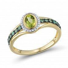Кольцо из желтого золота Линда с перидотом (хризолитом), изумрудами и бриллиантами