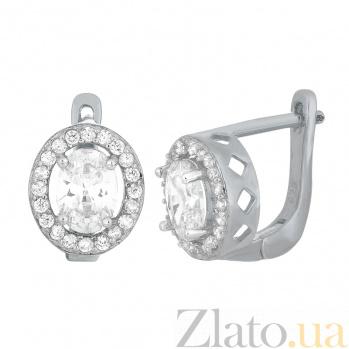 Серебряные серьги Индира с фианитами 000024659
