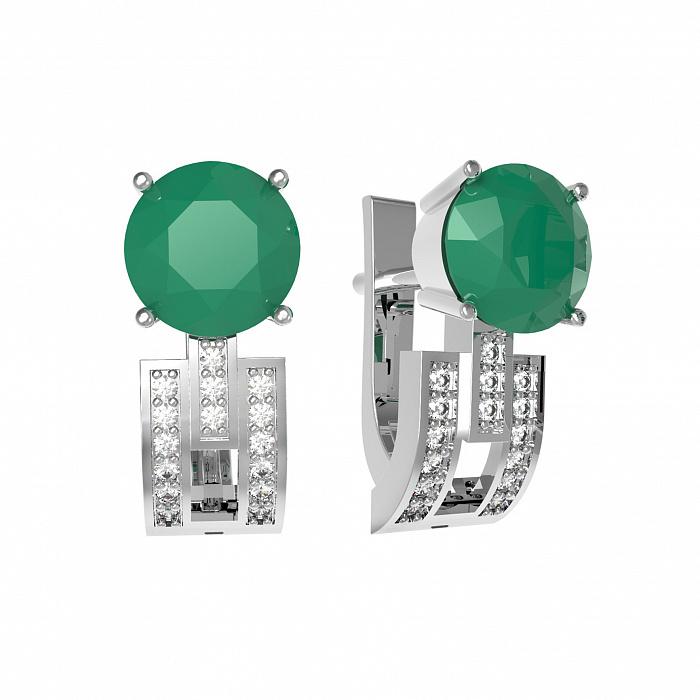 Серебряные серьги Парма с зеленым агатом и фианитами 000079724