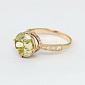 Золотое кольцо Эстель с синтезированным аметистом и фианитами VLN--112-1306-55