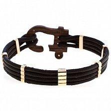 Кожаный браслет Стиль с золотыми вставками, эбеновым деревом и бриллиантом
