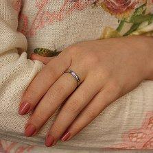 Серебряное обручальное кольцо Линии судьбы с алмазной насечкой