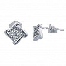 Серебряные пуссеты с цирконами Ромб