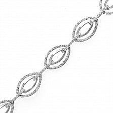 Серебряный браслет Флорена с двойными звеньями в усыпке фианитов