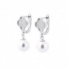 Серебряные серьги-подвески Элина с искусственным жемчугом и фианитами