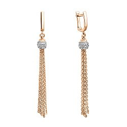 Золоті сережки-підвіски у комбінованому кольорі з фіанітами 000140715