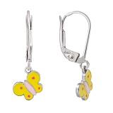 Детские серебряные сережки Жёлтые бабочки с эмалью