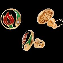 Золотые серьги-пуссеты с бриллиантами и эмалью Беззаботное счастье Black Edition