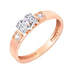 Золотое кольцо в красном и белом цвете с выпуклыми элементами и фианитами 000117075