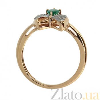 Золотое кольцо с бриллиантами и изумрудом Грета 000021379