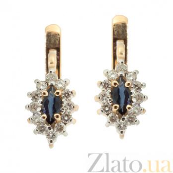 Золотые серьги с бриллиантами и сапфирами Ялта ZMX--BLS-167_K