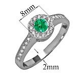 Серебряное кольцо с фианитами и зелёным альпинитом Джоанна