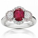 Кольцо Argile-Z с рубином, бриллиантами и розовыми сапфирами