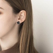 Серебряные серьги-пуссеты Эмили в виде клевера с черным ониксом в стиле Ван Клиф