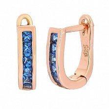 Позолоченные серебряные серьги с синими фианитами Грета