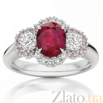 Кольцо Argile-Z с рубином, бриллиантами и розовыми сапфирами R-cjZ-W-1r-12d