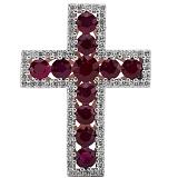 Крест из белого золота с рубинами и бриллиантами Сияние