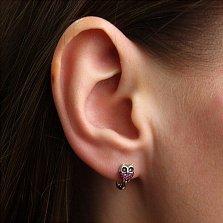 Серебряные серьги Совушка с цирконием черного и рубинового цвета