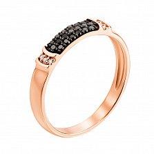 Кольцо в красном золоте Фаина с черными и белыми бриллиантами