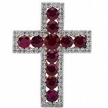 Крест из белого золота Сияние с рубинами и бриллиантами