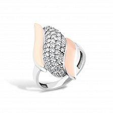 Серебряное кольцо Агриппина с золотыми накладками и фианитами
