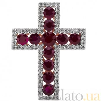 Крест из белого золота с рубинами и бриллиантами Сияние KBL--П219/бел/руб