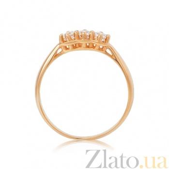 Золотое кольцо Трио с белыми кристаллами Swarovski 000010487